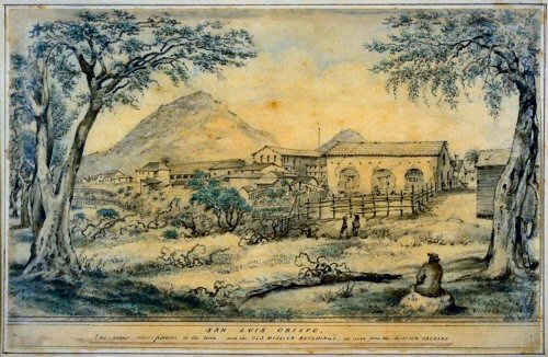 Edward Vischer drawing of the mission late 19th century