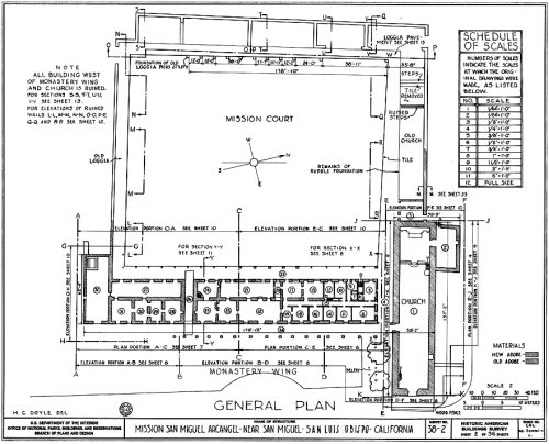 The general plan of the Mission San Miguel