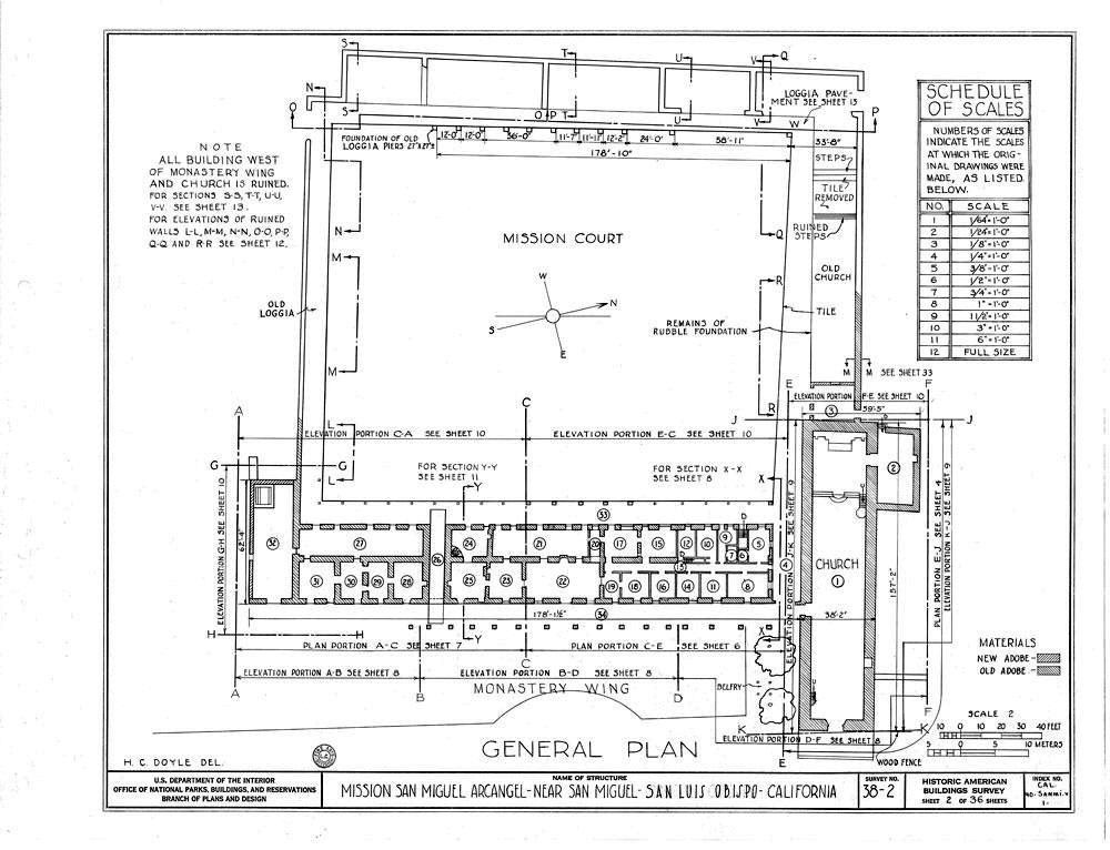 A 1930's plan of the mission