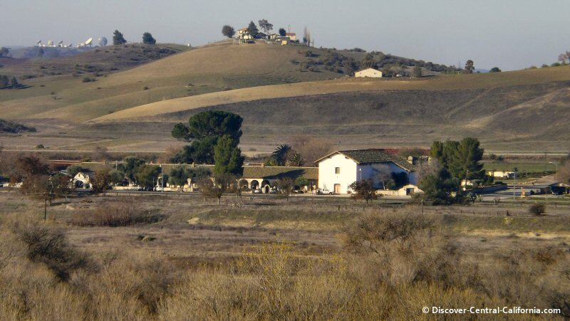 A view of Mission San Miguel across the Salinas River