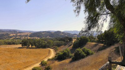 A view of the Santa Ynez river valley directly east of the mission