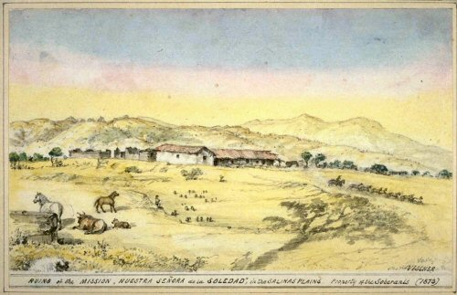 1873 sketch of the mission by Edward Vischer
