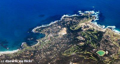A view of Pebble Beach from the air