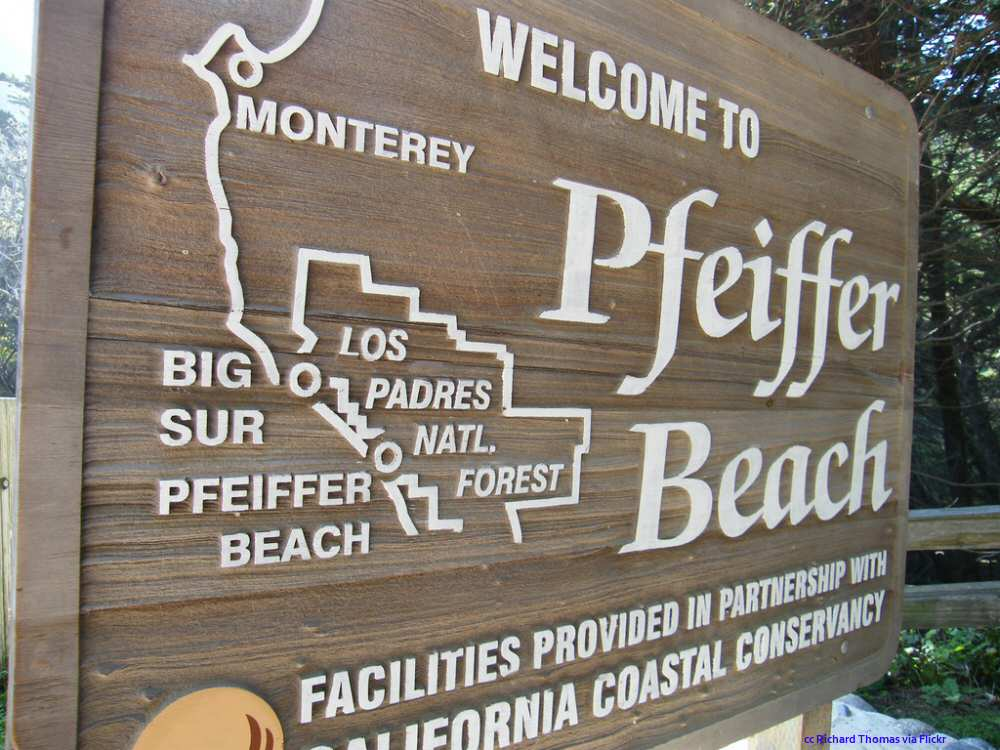 The main sign at Pfeiffer Beach