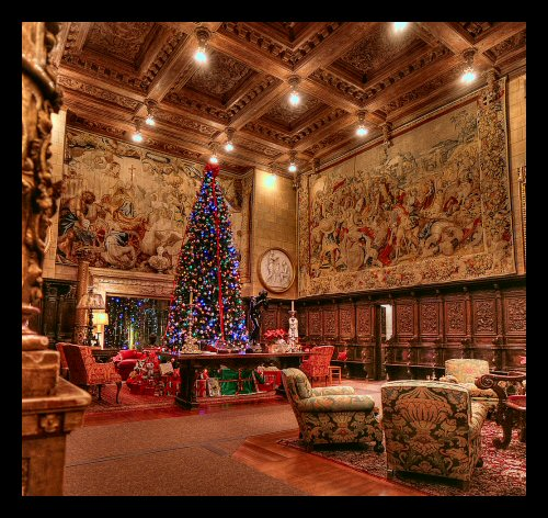 A spectacularly beautiful room at Hearst Castle decorated for the Christmas holidays