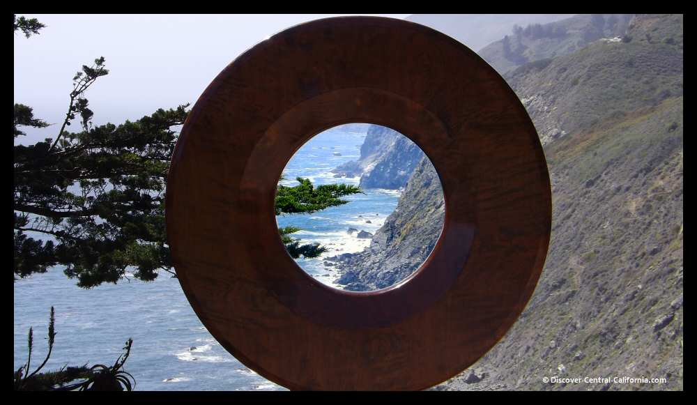 The Big Sur Coastline through a wooden sculpture